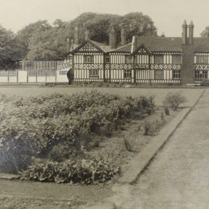 Black and white photograph depicting Worsley Old Hall, c1920's. Bridgewater Estate Archives, Salford University Archives and Special Collections.