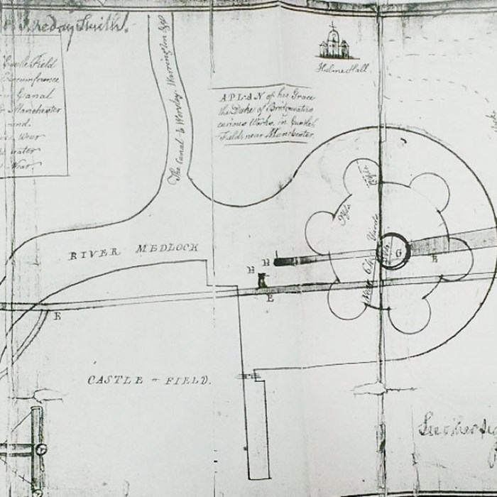 Plan of his Grace the 3rd Duke of Bridgewater's curious weir at Castlefield. Ref. BW/E/1, Salford City Archives.