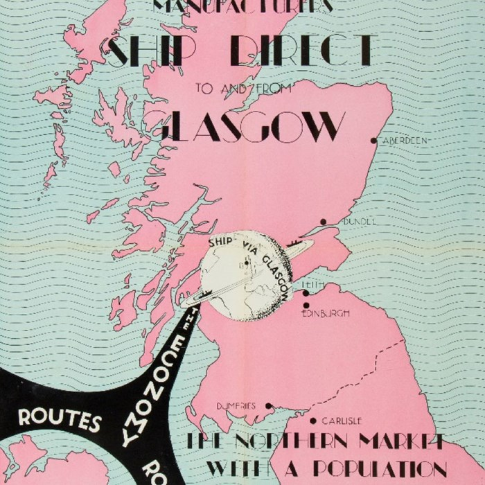 Area & population served by the Port of Glasgow, W. French, The Port of Glasgow (Clyde Navigation Trust, 1947) Peel Archives Ref: 2017/65.
