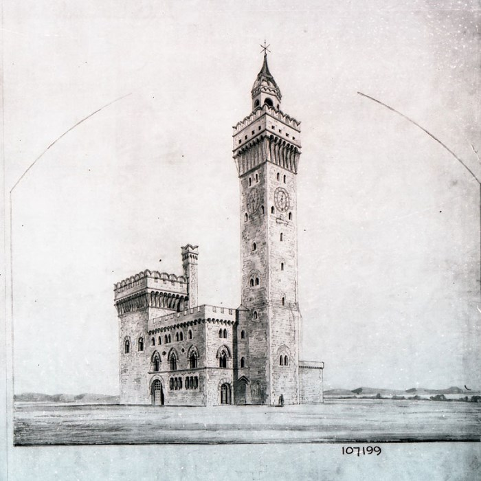 Sketch of Jesse Hartley's hydraulic tower at Birkenhead Docks, c1863. Peel Archives Ref: 2017/2 (Mersey Dock & Harbour Board Company Collection).