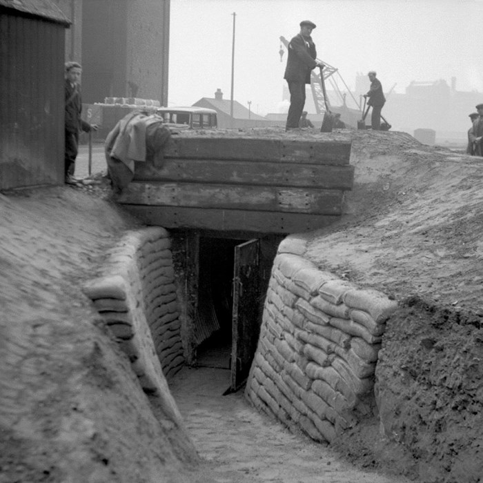 Air raid shelter, Salford Docks for Manchester Ship Canal Company Manchester 1939. Peel Archives Ref: PHO/BWC/2/7/6.