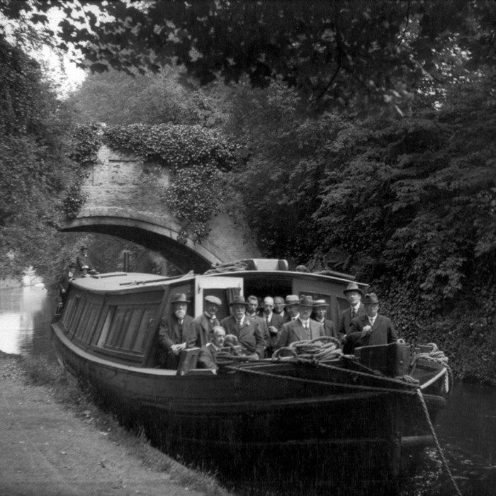 Inspection barge at Walton Lea Bridge c1900-1949. Peel Archives Ref: PHO/BWC/2/8/15.