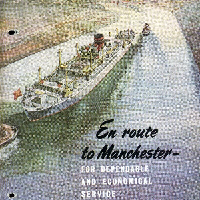 An example of the iconic advertising work created by The Manchester Ship Canal Company and Port of Manchester. c 1950.